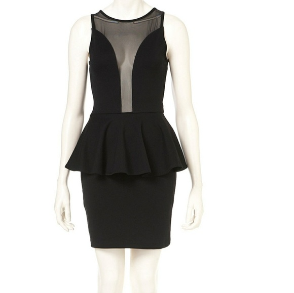 Topshop Dresses Black Mesh Insert Peplum Dress Poshmark